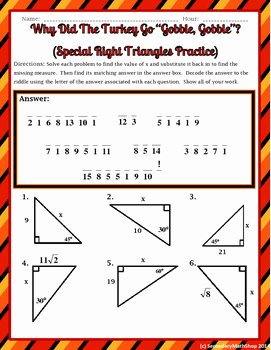 30 60 90 Triangles Worksheet Elegant Right Triangles Special Right 45 45 & 30 60 90