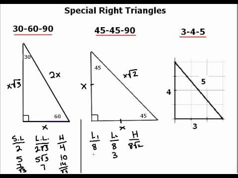 30 60 90 Triangles Worksheet Elegant Special Right Triangle Explanation