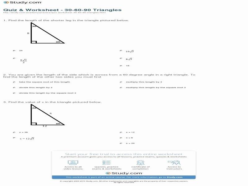 30 60 90 Triangles Worksheet Luxury 30 60 90 Triangle Worksheet Free Printable Worksheets