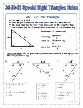 30 60 90 Triangles Worksheet Luxury Right Triangles 30 60 90 Special Right Triangles Notes