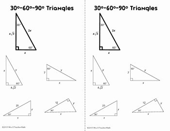 30 60 90 Triangles Worksheet Luxury Special Right Triangles Interactive Notebook Page by Mrs E