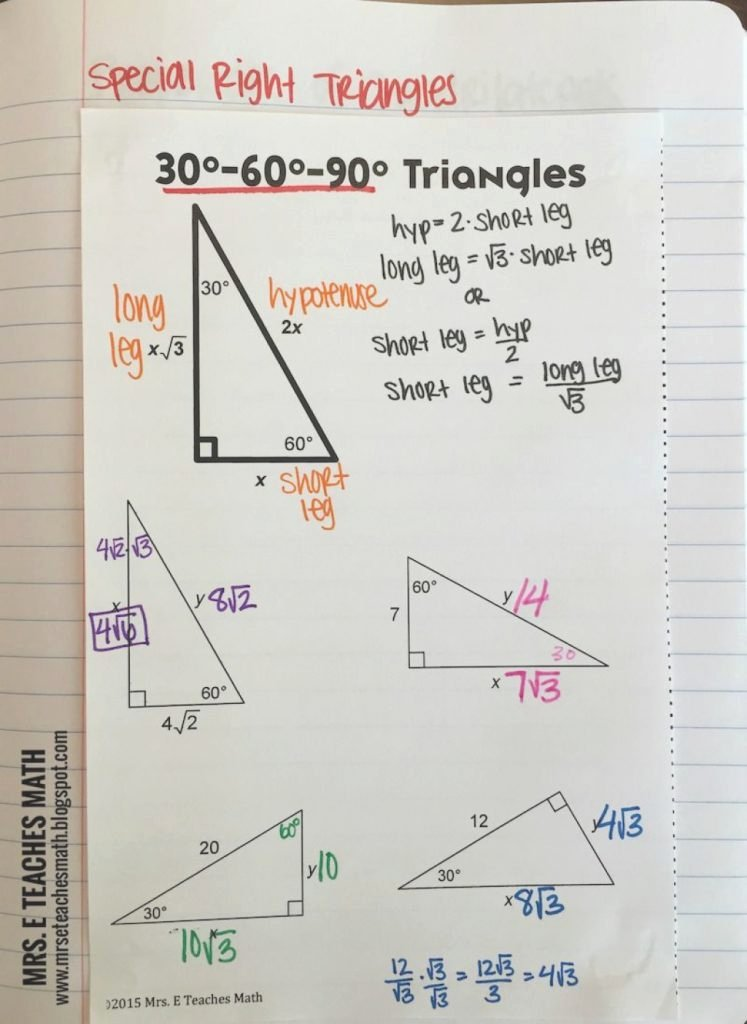 30 60 90 Triangles Worksheet New by Choosing This Special Right Triangles 30 60 90