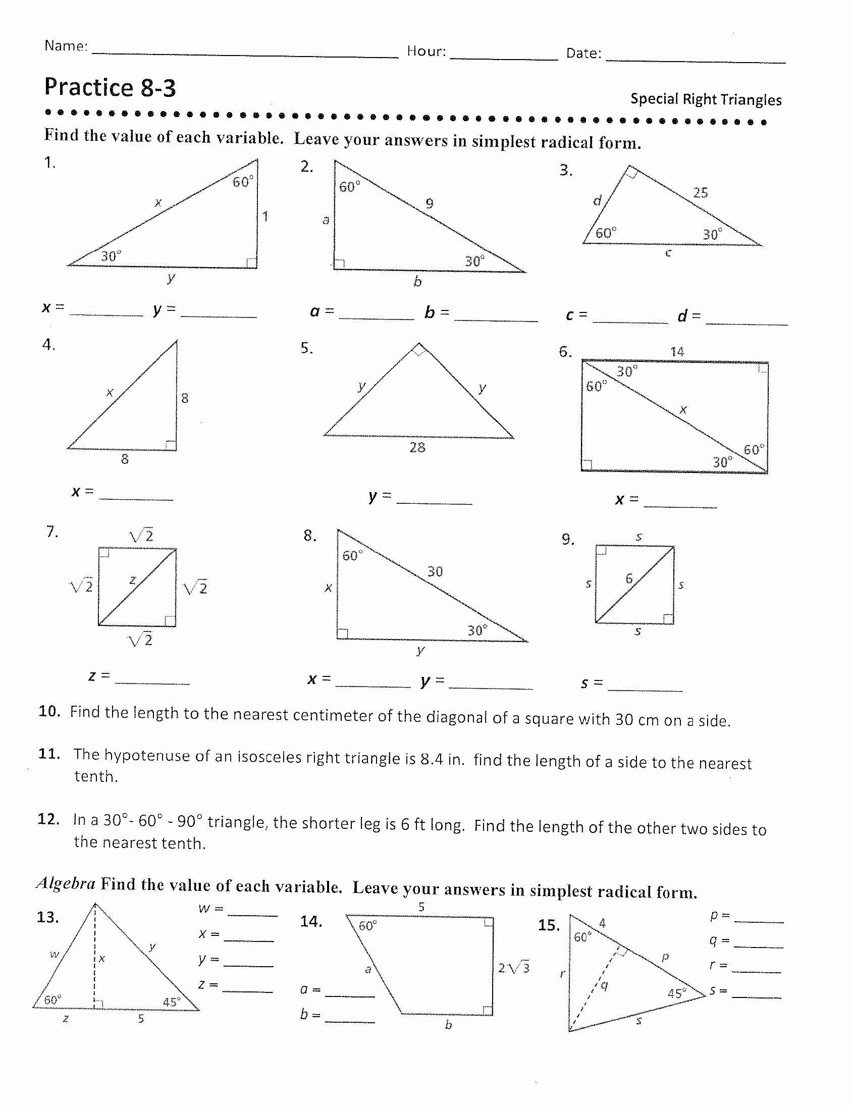 "30 60 90 Triangles Worksheet Unique Geometry ""b"" Mr Revett S Web Page"