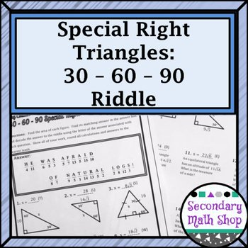 30 60 90 Triangles Worksheet Unique Right Triangles Special 30 60 90 Riddle Practice
