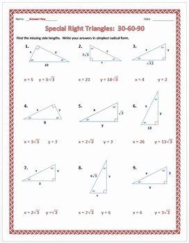 30 60 90 Triangles Worksheet Unique Special Right Triangles 30 60 90 Practice Worksheet by Dr