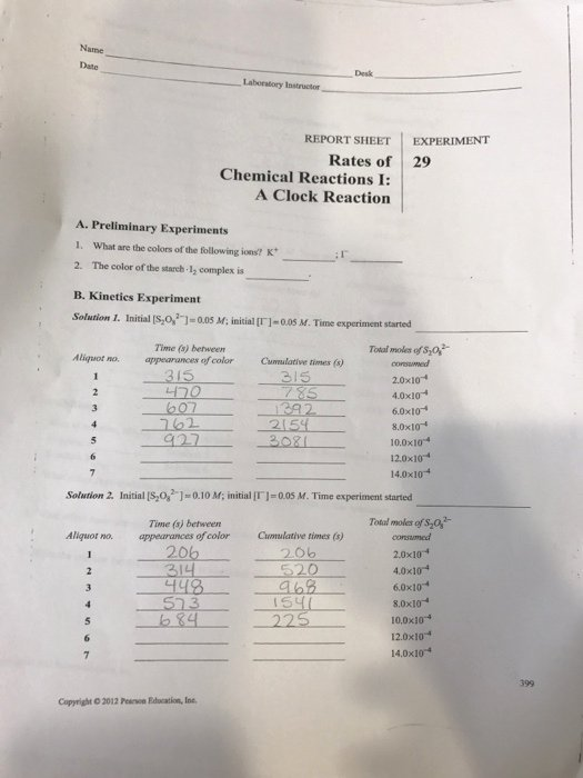 4.4 Biomes Worksheet Answers Best Of solved Report Sheet Experiment Rates 29 Chemical React