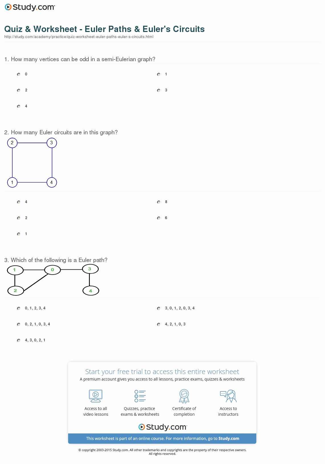 4.4 Biomes Worksheet Answers Luxury Quiz & Worksheet Euler Paths & Euler S Circuits