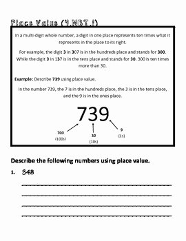 4 Nbt 1 Worksheet Lovely 4th Grade Math Mon Core Worksheet 4 Nbt 1 by