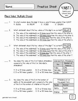4 Nbt 1 Worksheet New 4 Nbt 1 & 4 Nbt 2 Place Value Number forms Pare