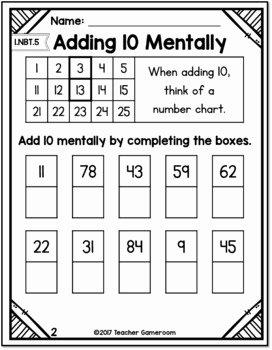 4 Nbt 1 Worksheet New Freebie Adding 10 Mentally Worksheets 1 Nbt 5 by