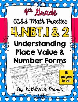 4 Nbt 1 Worksheet Unique 4 Nbt 1 & 4 Nbt 2 Place Value Number forms Pare