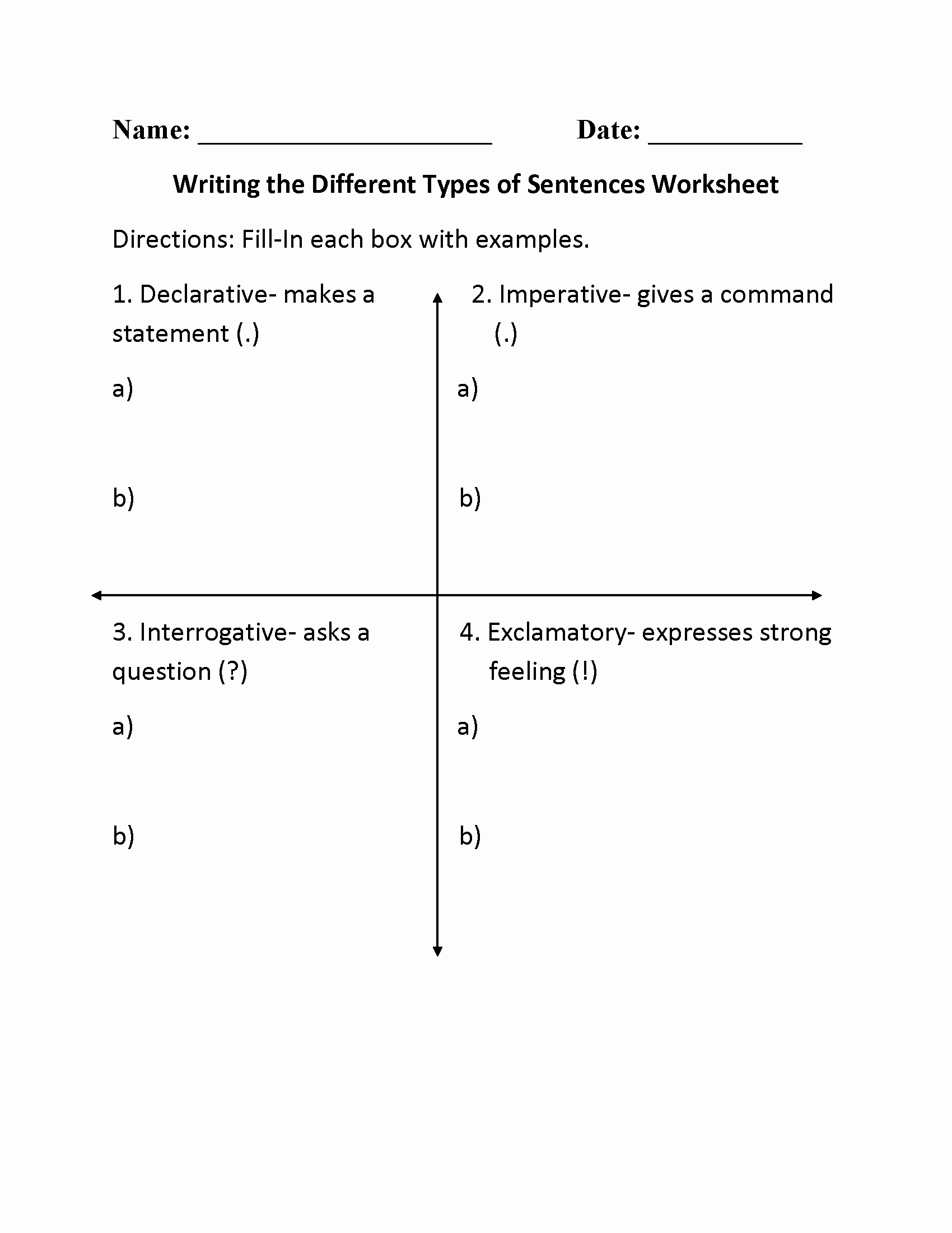 4 Types Of Sentences Worksheet Beautiful 13 Best Of Different Types Writing Worksheets