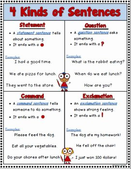 4 Types Of Sentences Worksheet Beautiful 4 Kinds Of Sentences Activity Pack by Teacher S Take Out