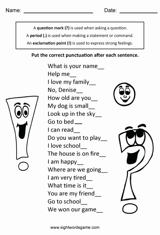 4 Types Of Sentences Worksheet Beautiful Types Of Sentences Sight Words Reading Writing