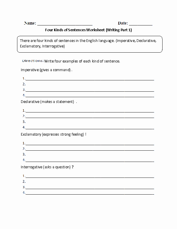 4 Types Of Sentences Worksheet Elegant Sentences Worksheets