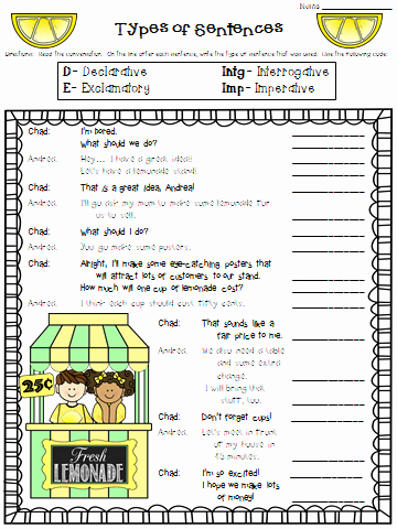 4 Types Of Sentences Worksheet Fresh Crafting Connections Worksheet Wednesday Types Of