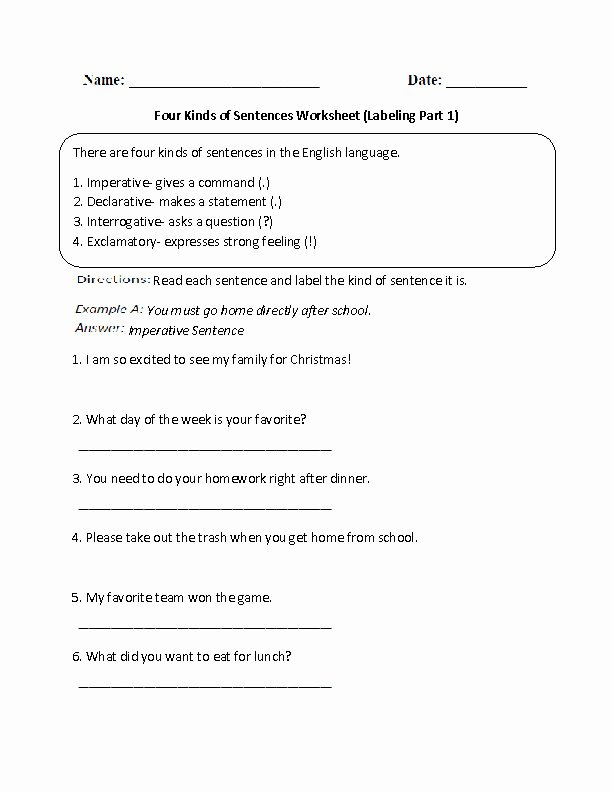 4 Types Of Sentences Worksheet Fresh Sentence Types Worksheet