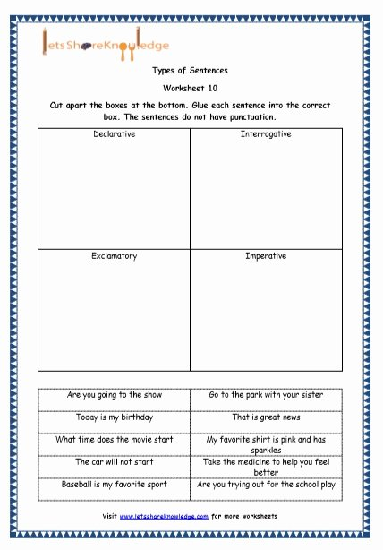 4 Types Of Sentences Worksheet Inspirational Grade 4 English Resources Printable Worksheets topic 4