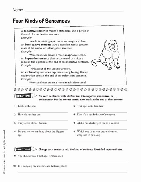 4 Types Of Sentences Worksheet New Four Kinds Of Sentences Worksheet for 5th 8th Grade