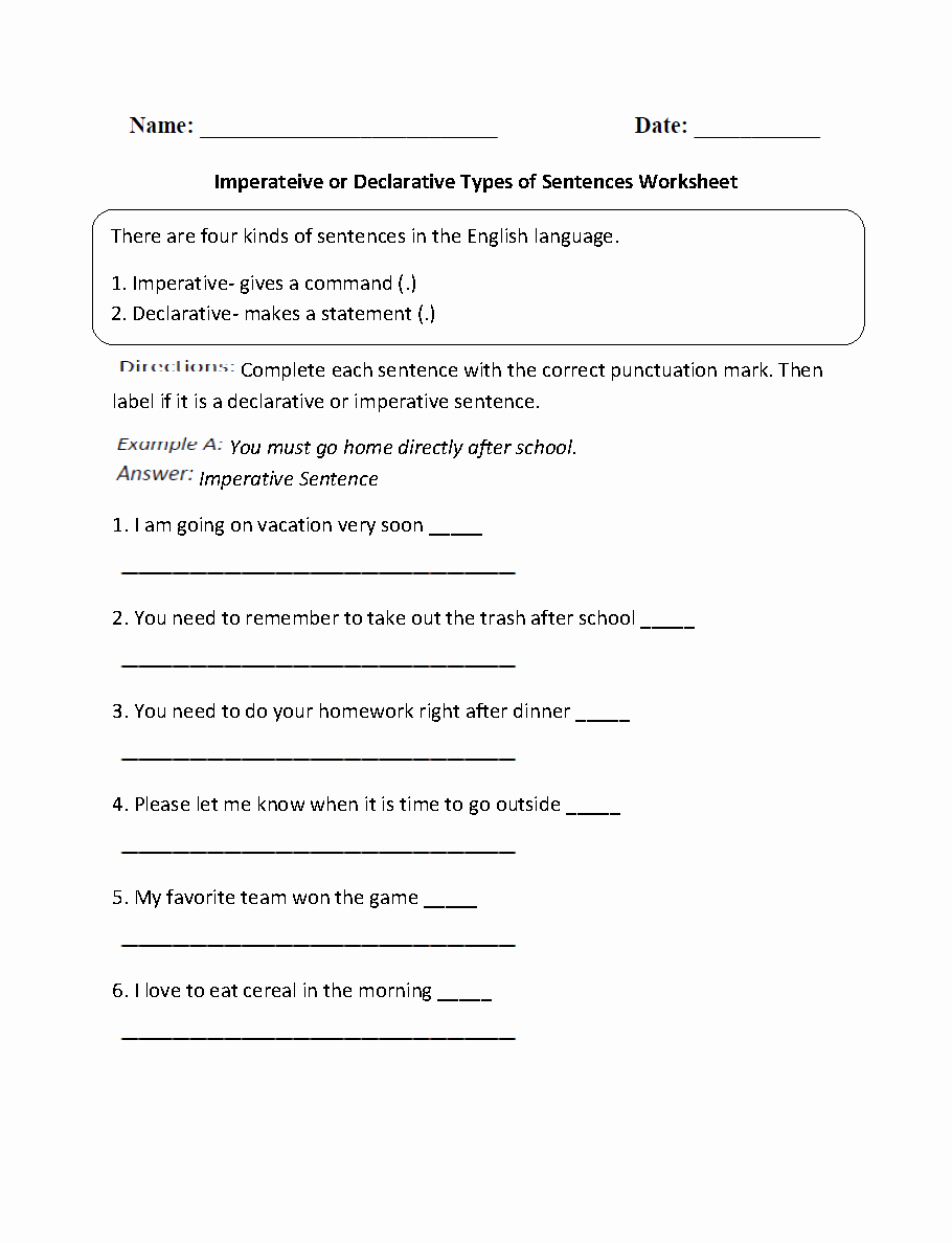 4 Types Of Sentences Worksheet New Sentences Worksheets