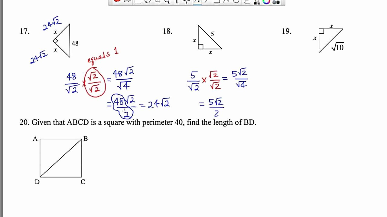 5.8 Special Right Triangles Worksheet Fresh Worksheet Special Right Triangles 45 45 90 Geometry 5 8