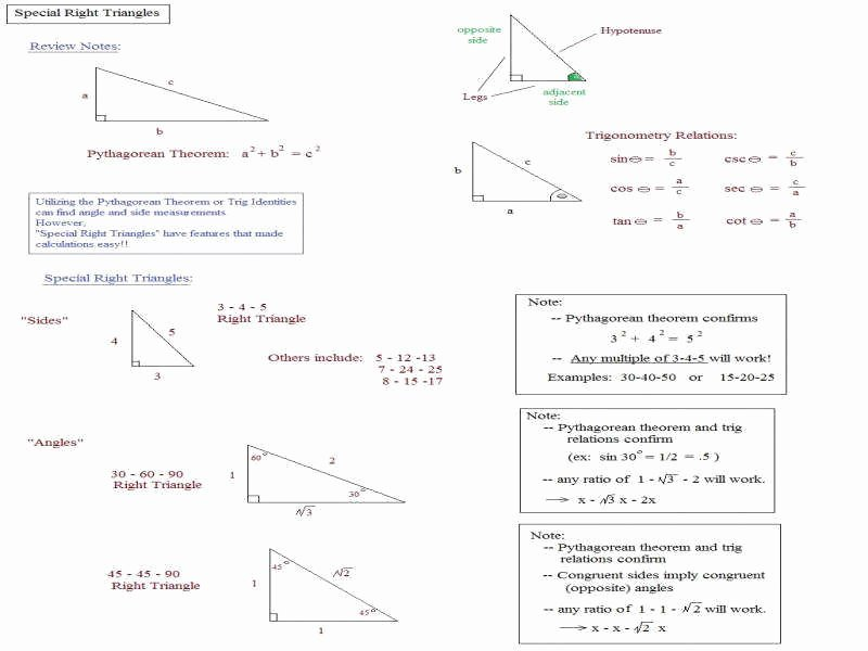 5.8 Special Right Triangles Worksheet Luxury Special Right Triangles Worksheet