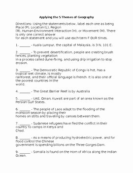 5 themes Of Geography Worksheet Awesome Applying the 5 themes Of Geography Worksheet by Next Level