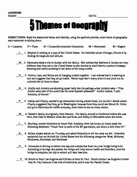 5 themes Of Geography Worksheet Elegant 5 themes Of Geography by the Creative Cabinet