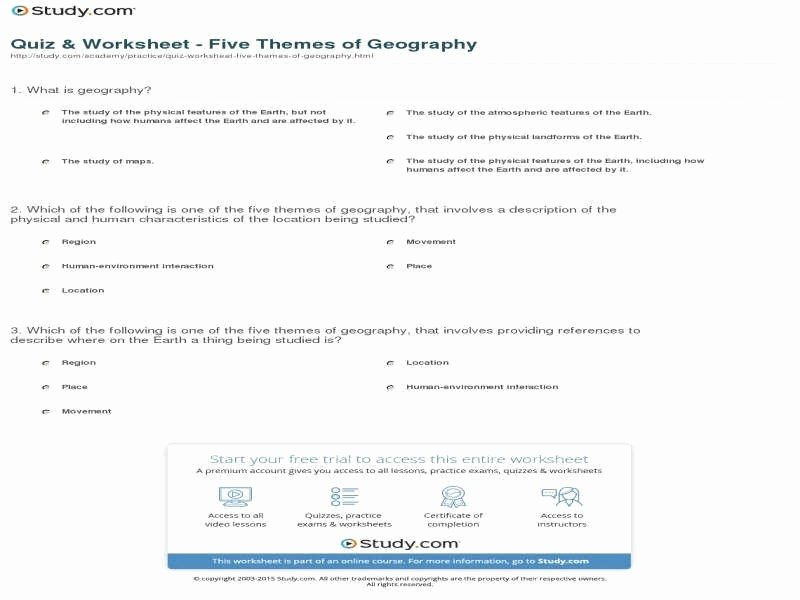 5 themes Of Geography Worksheet Inspirational Five themes Geography Worksheet