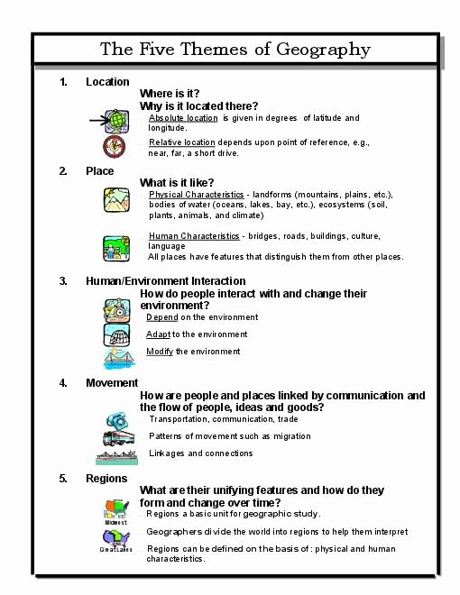 5 themes Of Geography Worksheet Luxury 1000 Ideas About Five themes Geography On Pinterest