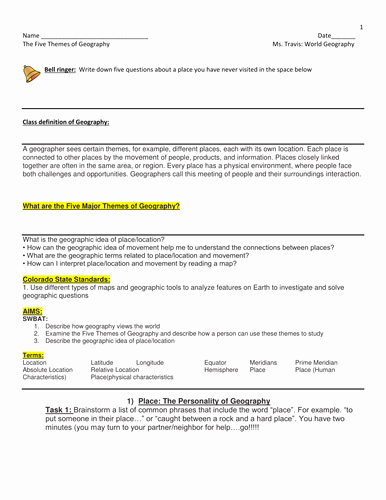 5 themes Of Geography Worksheet New 5 themes Of Geography Lesson Plan Power Points