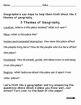 5 themes Of Geography Worksheet Unique the 5 themes Of Geography Worksheet by Shana Keane