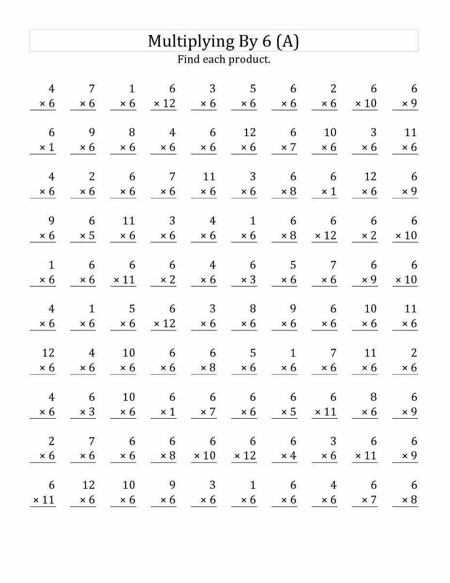 6 Times Table Worksheet Awesome 6 Times Table Worksheets to Learn Multiplication