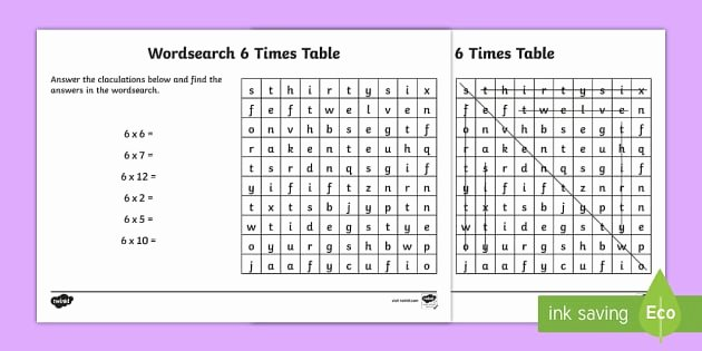 6 Times Table Worksheet Fresh Multiplication 6 Times Tables Wordsearch Worksheet