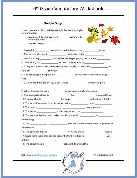 6th Grade Spelling Worksheet Awesome Sixth Grade Vocabulary Worksheets