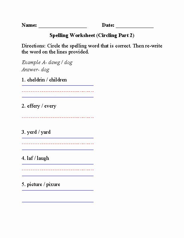 6th Grade Spelling Worksheet Fresh Spelling Worksheets