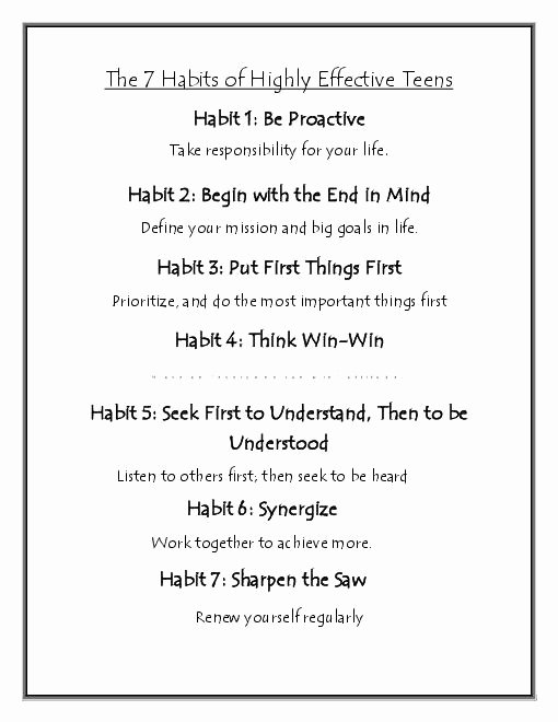 7 Habits Worksheet Pdf Lovely 7 Habits Highly Effective Teens Worksheets the Best