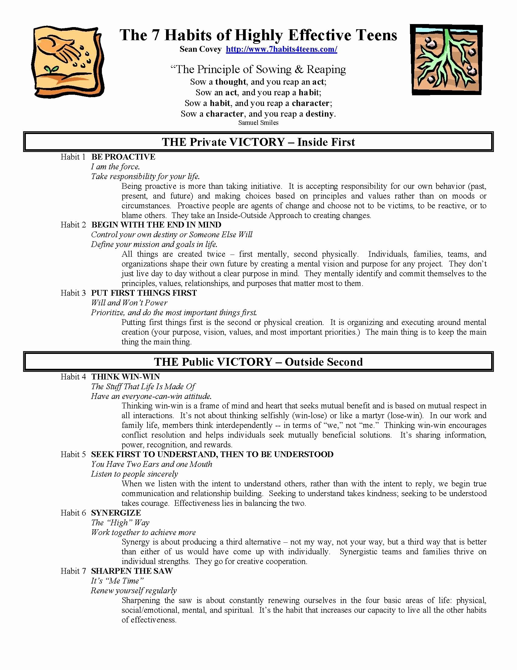 7 Habits Worksheet Pdf Luxury the 7 Habits Of Highly Effective Teens Summary Sheet
