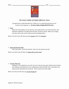 7 Habits Worksheet Pdf Unique Seven Habits Of Highly Effective Teens Worksheet 8th