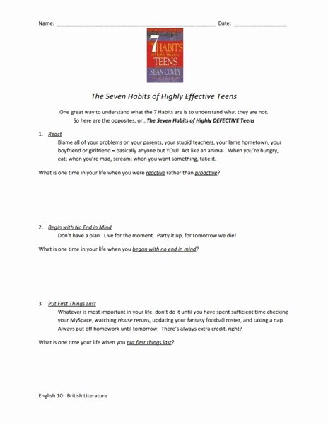 7 Habits Worksheet Pdf Unique Seven Habits Of Highly Effective Teens Worksheet Worksheet