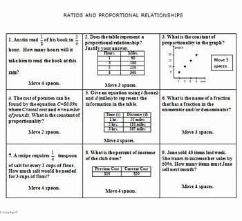 7th Grade Proportions Worksheet Luxury Math Board Game 7th Grade Ratios and Proportional