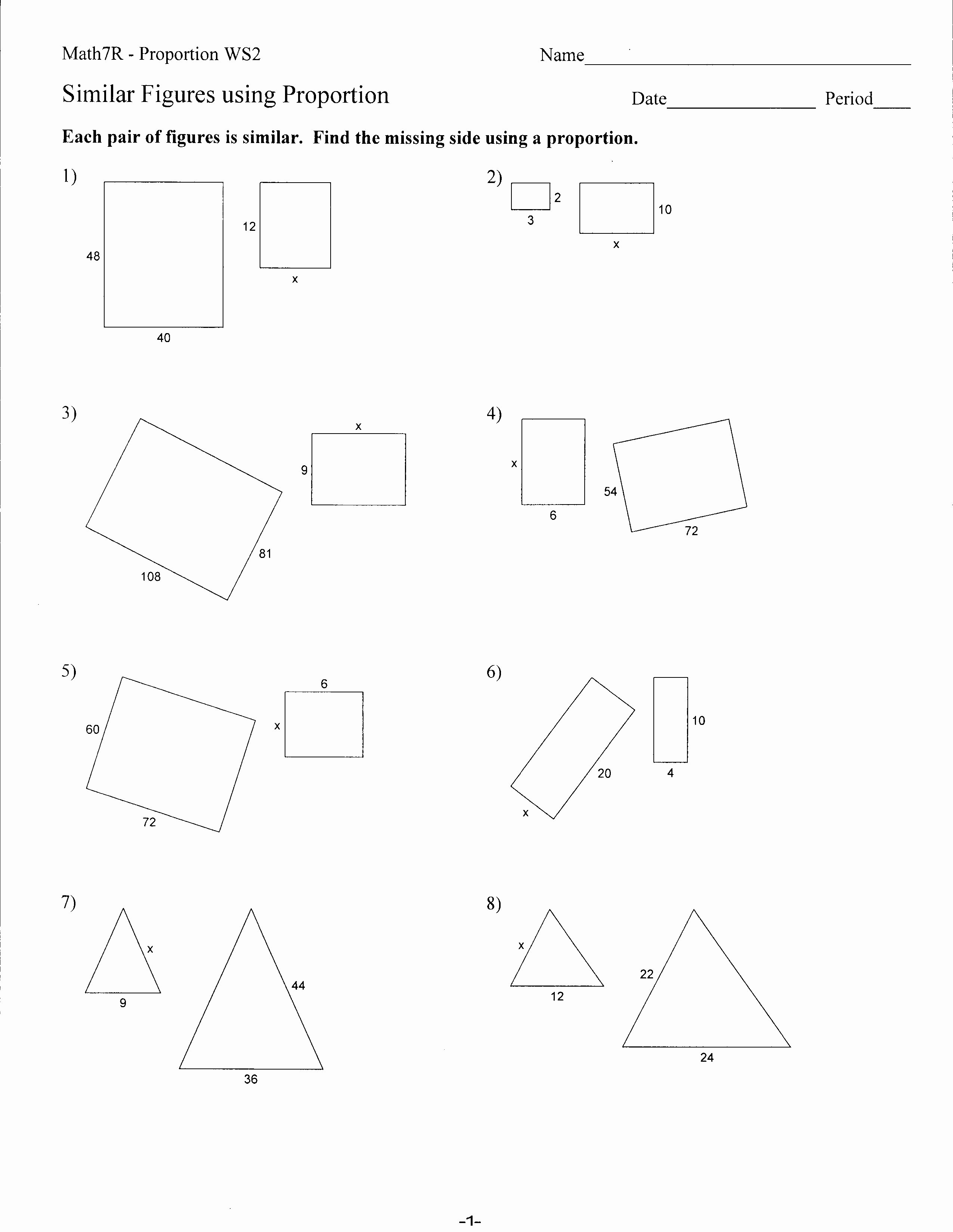 7th Grade Proportions Worksheet Unique 10 Best Of Similar Figures Worksheets 7th Grade