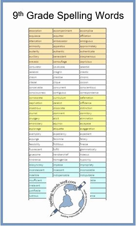 9th Grade Vocabulary Worksheet Best Of 9th Grade Spelling Words and Resources