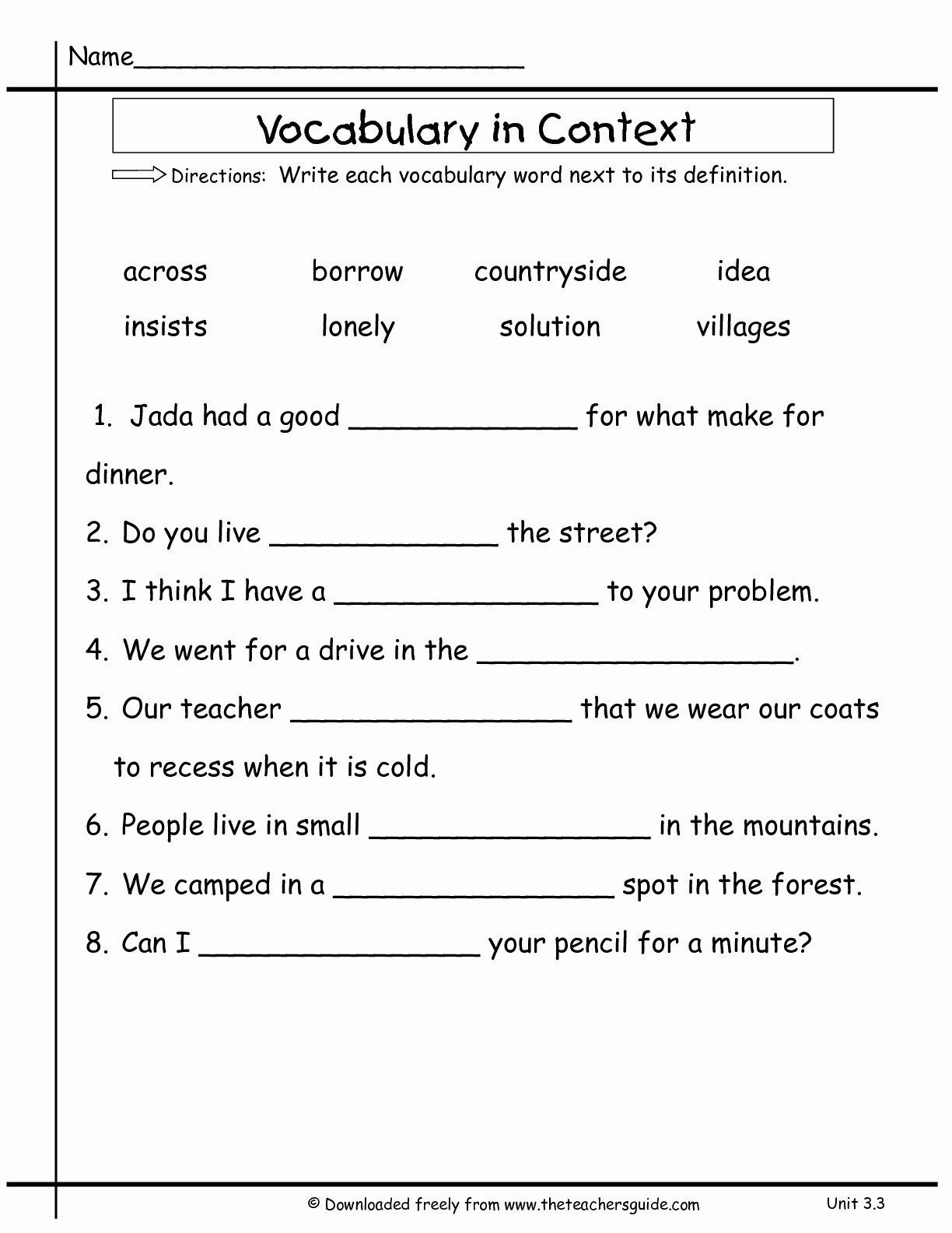 9th Grade Vocabulary Worksheet Inspirational 9th Grade Vocabulary Worksheets the Best Worksheets Image