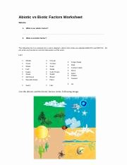 Abiotic and Biotic Factors Worksheet Awesome Abiotic Vs Biotic Factors Worksheet 1 Abiotic Vs Biotic