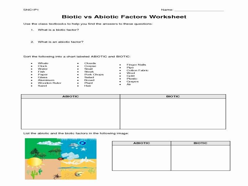 Abiotic and Biotic Factors Worksheet Awesome Biotic and Abiotic Factors Worksheet Free Printable