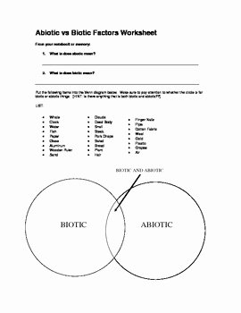 Abiotic and Biotic Factors Worksheet Beautiful Abiotic Vs Biotic Factors by Mrs Kalers Science Stop