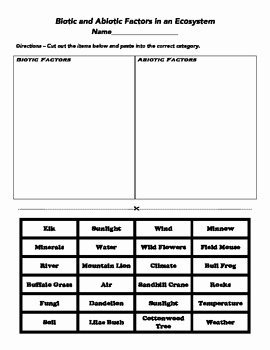 Abiotic and Biotic Factors Worksheet Beautiful Biotic and Abiotic Cut and Paste by Mr Stadalman