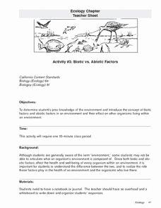 Abiotic and Biotic Factors Worksheet Best Of Biotic Vs Abiotic Factors 9th 12th Grade Lesson Plan