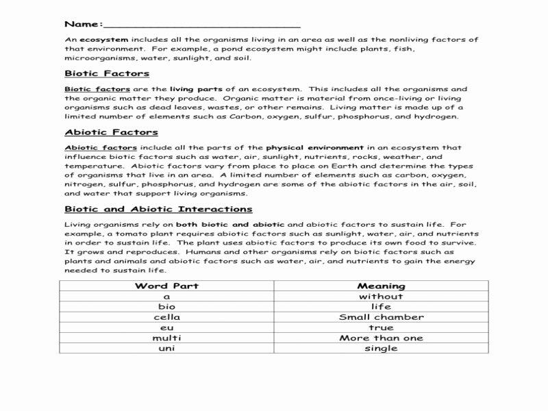 Abiotic and Biotic Factors Worksheet Elegant Biotic and Abiotic Factors Worksheet Free Printable